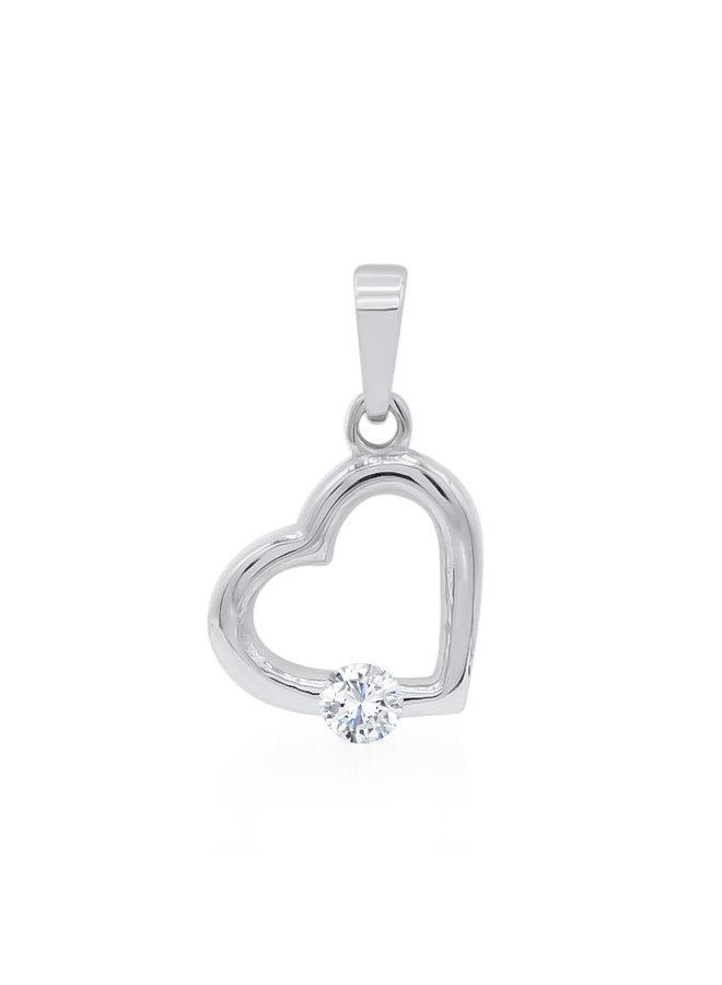 Pendentif coeur 10k blanc zircon