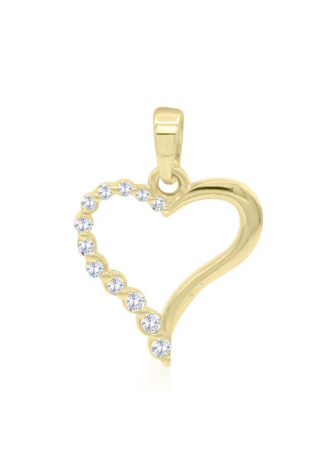 Pendentif coeur zircon 10k