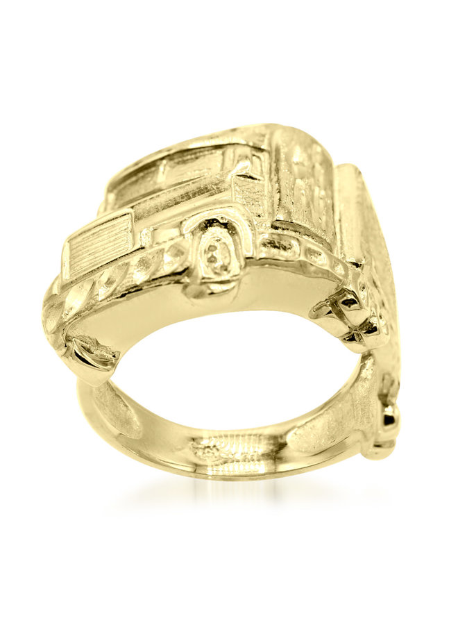 Bague homme or jaune 10k camion