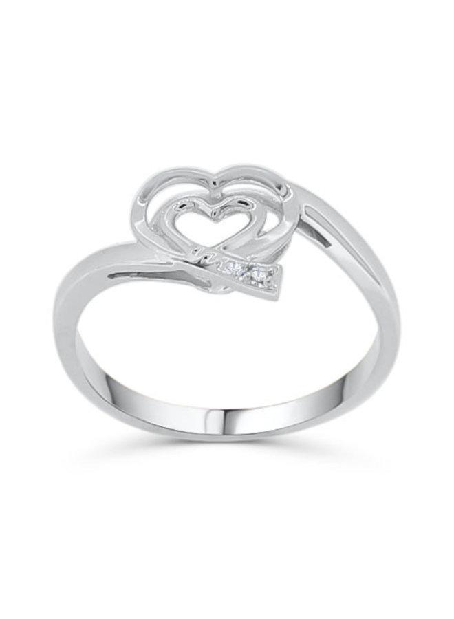 Bague 10k blanc diamant  2x0.008CT I GH