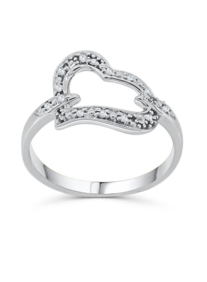 Bague 10k Diamant 0.08ct I GH Style Coeur