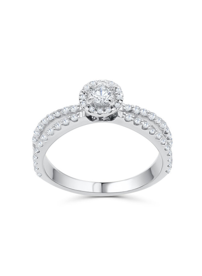 Bague 14k blanc diamant 44x0.01 12=0.05 1x0.29ct VVS 2 J