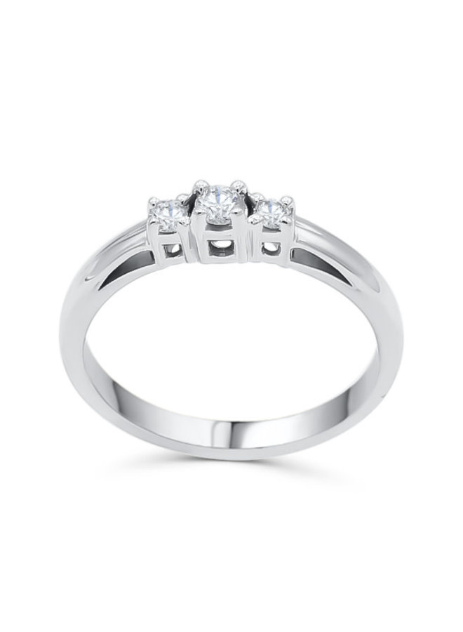 Jonc trinité 10k blanc diamant 1x0.10ct 2 x0.05ct I GH