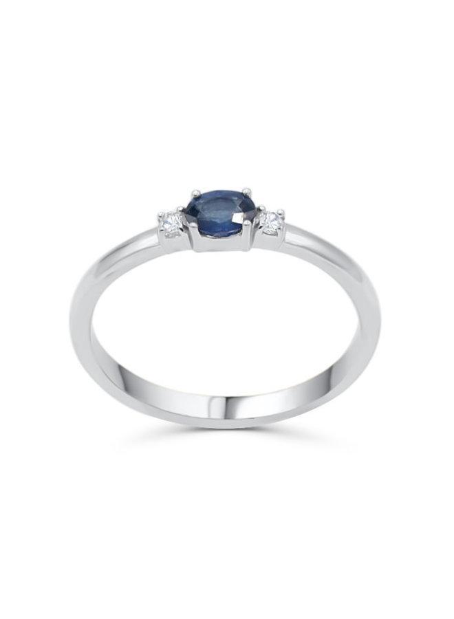 Bague 10k blanc Diamant 2x0.03ct I GH Saphir 5x4mm A
