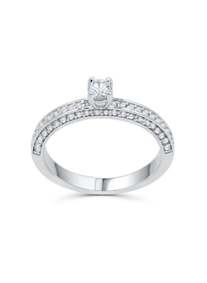 Bague 10k blanc diamant 1x0.17ct SI GH 0.66ct I GH