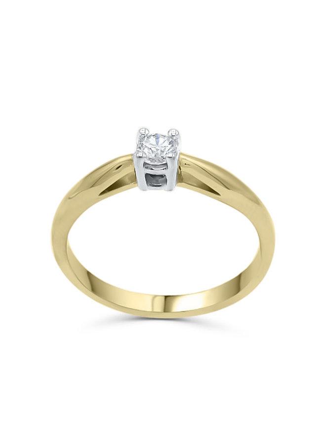 Bague 10k blanc diamant 1x0.20ct I GH     PROMO