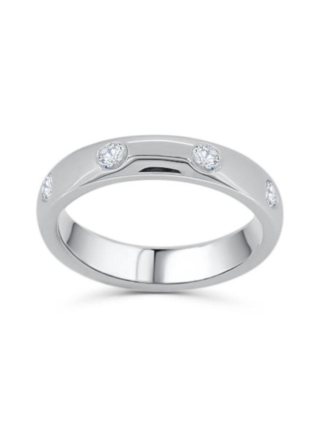 Jonc dame 14k blanc diamant  8x0.05ct SI GH
