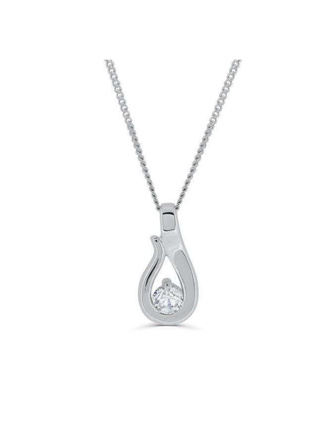 Pendentif 14k blanc diamant 1X0.12ct SI GH