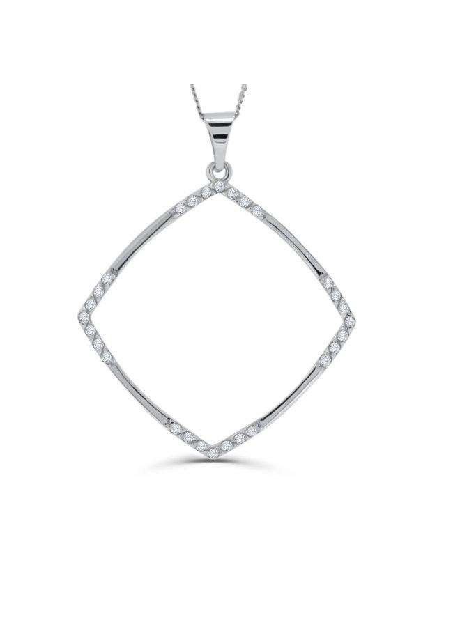 Pendentif carré 10k blanc zircon