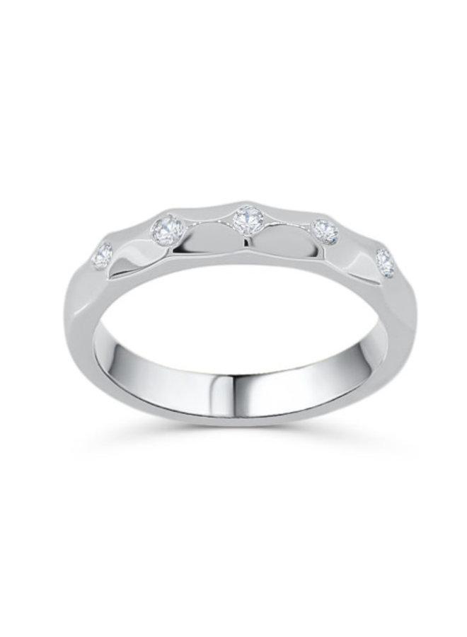 Baque 14k blanc diamant 5X0.02ct SI GH