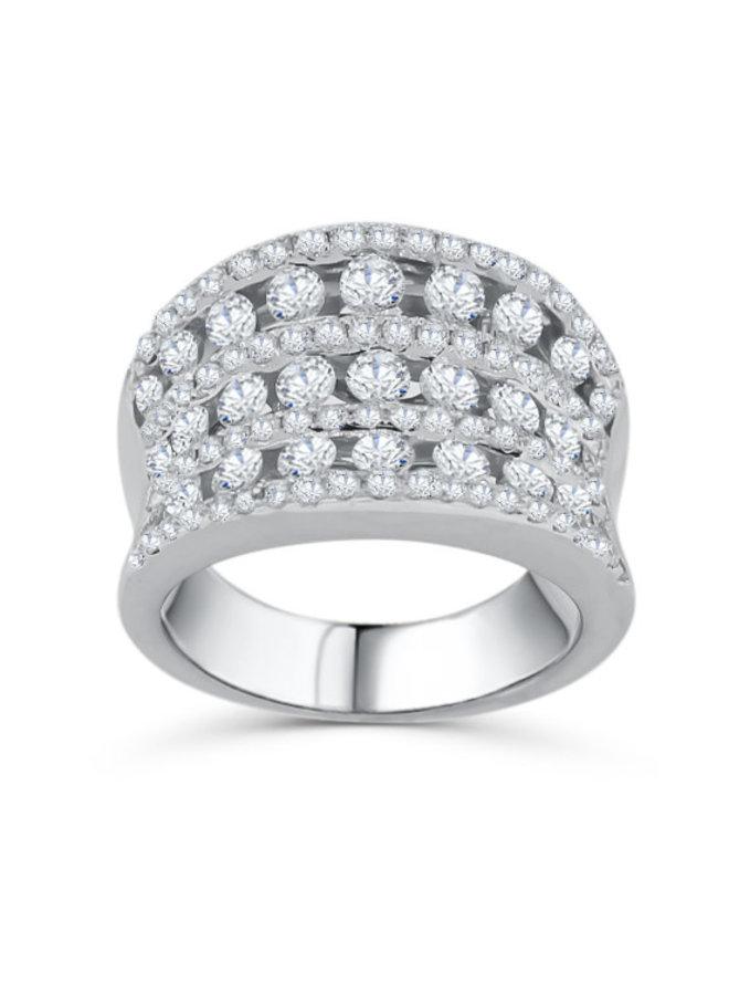 Bague 18k blanc 103 diamants =2,26ct