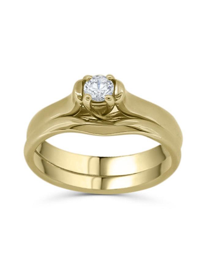 Bague solitaire 10k jaune diamant 1x0.15ct I GH