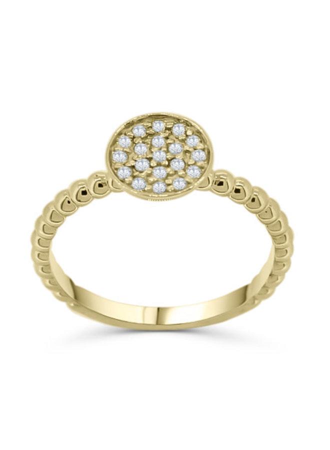 Bague 10k jaune diamant20=0.10ct I GH