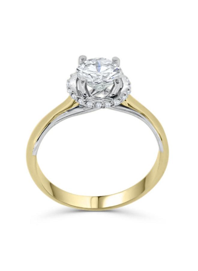 Bague 10k 2 tons diamant 1x1.02ct SI2  F  20X0.005ct I GH