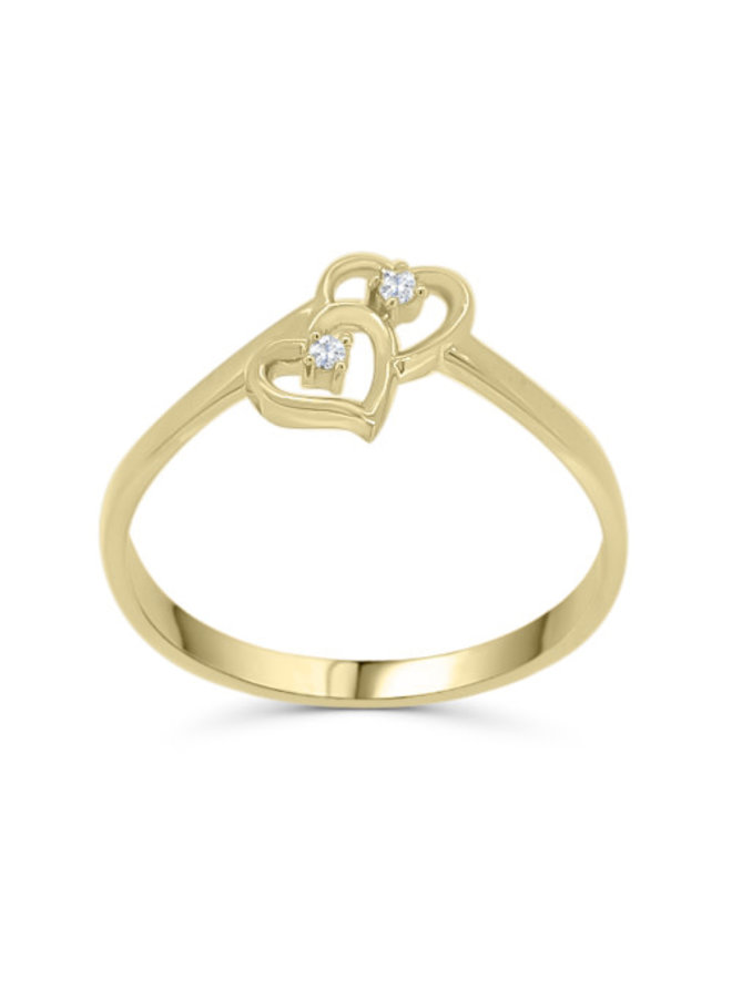 Bague coeur 10k jaune diamant 1x0,03ct