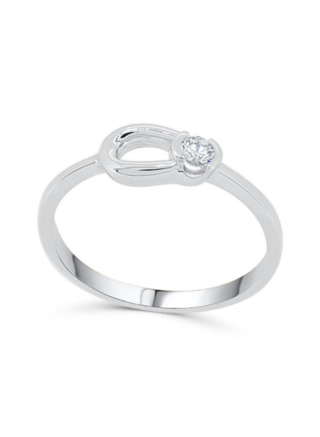 Bague 10k blanc 1x.08ct diamant canadien I GH