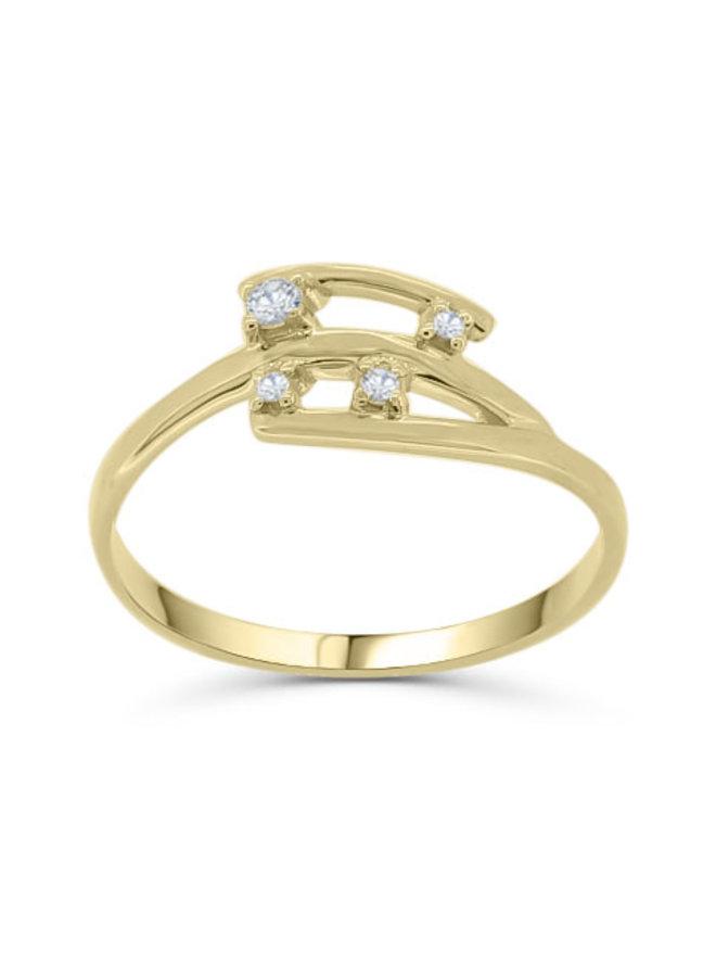 Bague 10k jaune 1x0.04ct I GH diamant canadien