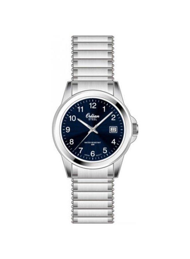 Orlean dame acier fond bleu bracelet extensible 20mm