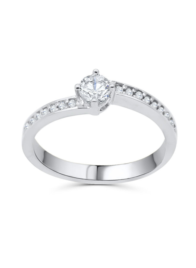 Bague 10k blanc diamant 1x0.33ct VS1 G 18X0.01ct I GH