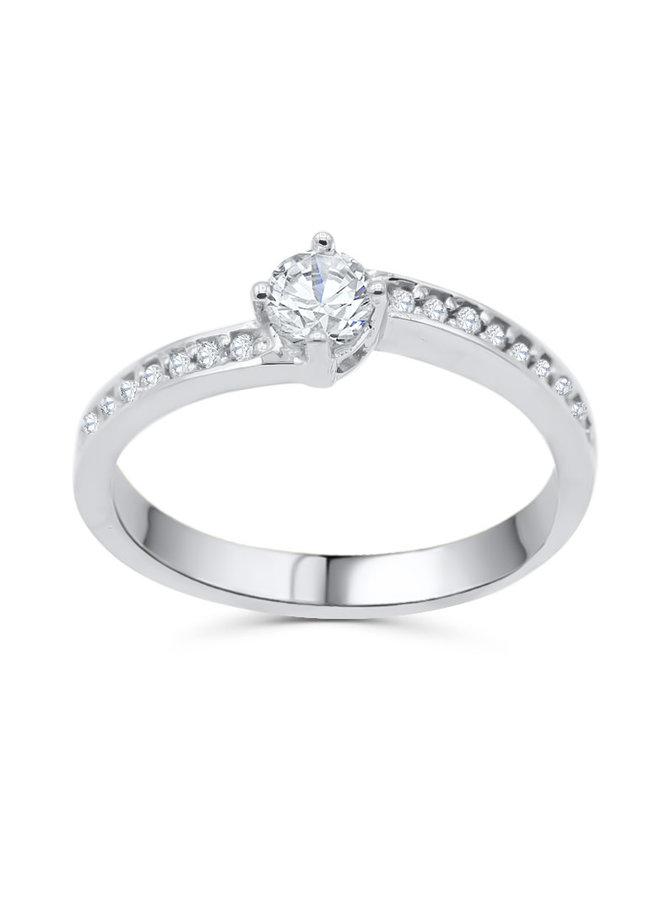Bague 10k blanc diamant 1x0.20ct I GH 18x0.01ct I GH