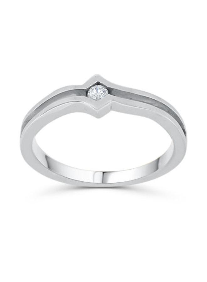 Bague 10k blanc diamant 1x0,10ct I G-H