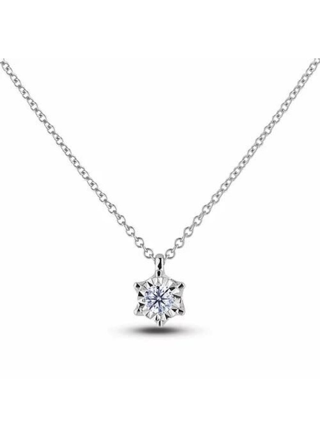 Pendentif 10k blanc diamant 1x0.20ct I1 H