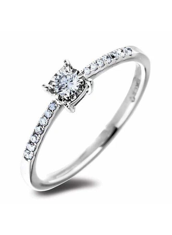 Bague 10k blanc solitaire diamant 1x0.10, 10x0.01ct Si2 GH