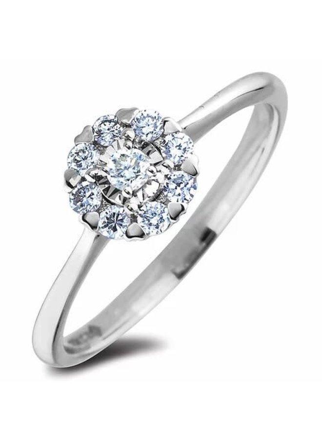 Bague 10k blanc Halo diamant 1x0.20ct 6x0.01ct i1 H