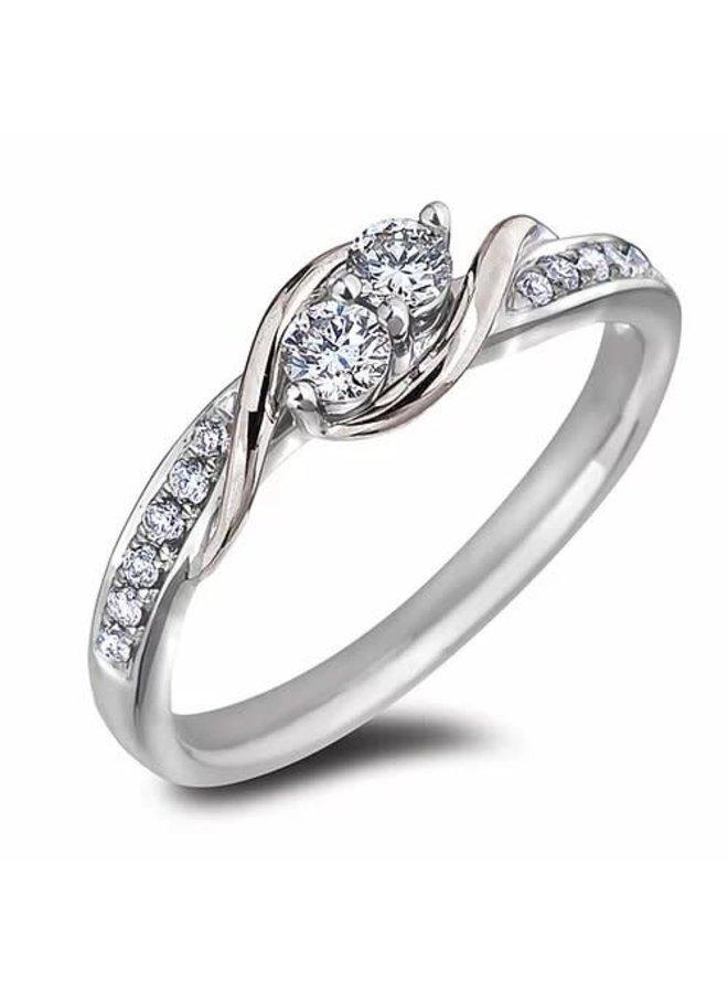 Bague 10k blanc diamant 0.21ct Si GH