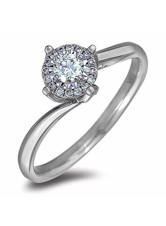 Bague 10k blanc Halo diamant 1x0.16ct 8x0.01ct Si2 GH