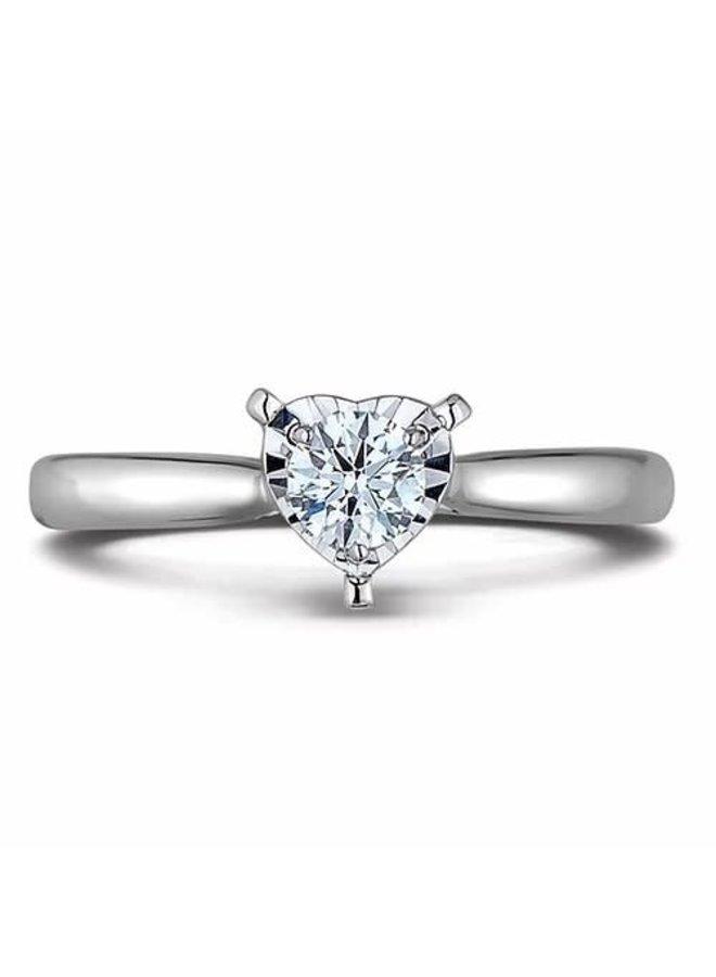 Bague 10k diamant coeur 1x0.25ct SI1 GH