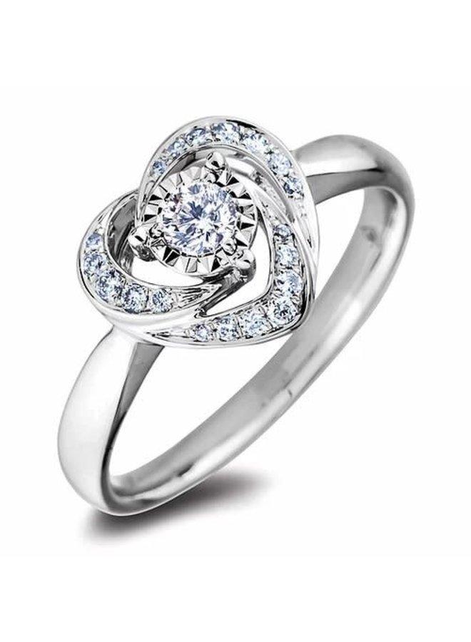 Bague 10k blanc diamant style coeur 1x0.19ct   0.14ct tot. I1  H