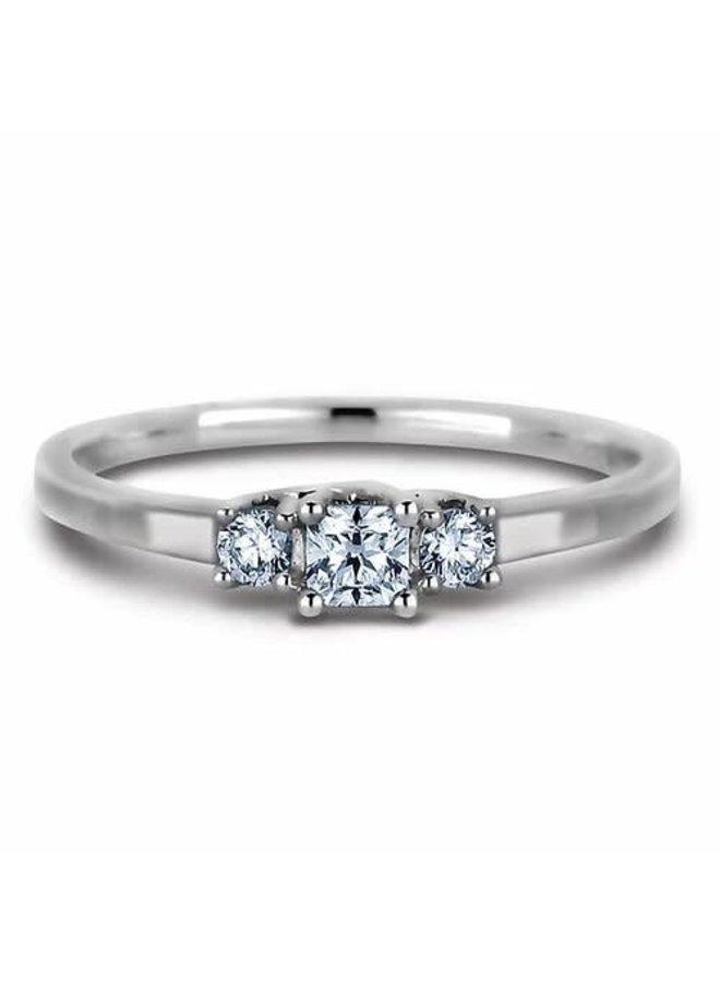 Bague 10k blanc Trinité diamant 1x0.16 2x0.05ct I 1 GH