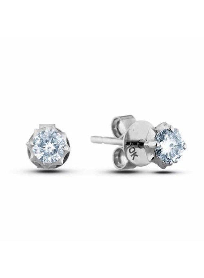 Boucle d'oreille 10k blanc diamant 0.30ct Si2 GH