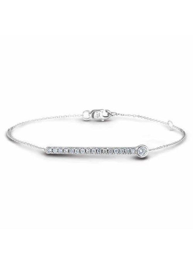 Bracelet 10k blanc diamant 0.24ct SI3 GH style barre
