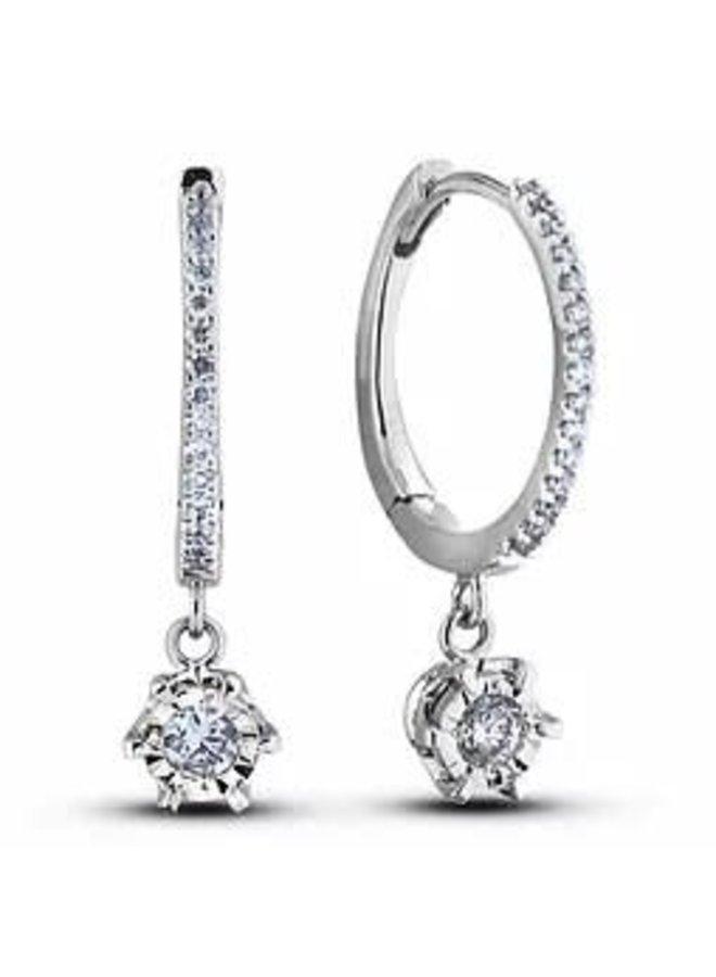 Boucle d'oreille 10k blanc diamant Huggies 0.16ct Si1 GH