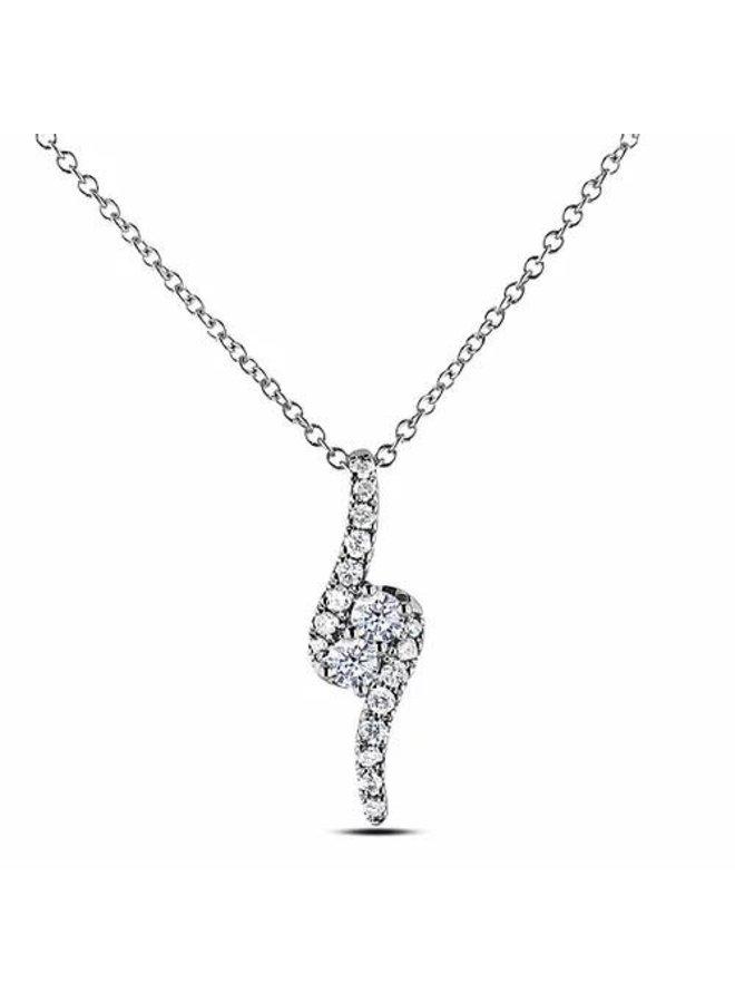 Chaine pendentif 10k blanc diamant 0.14ct SI2 GH