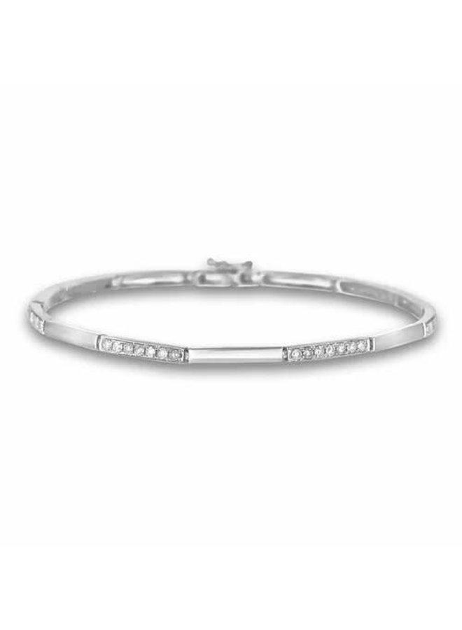 Bracelet 10k blanc diamant 0.12ct I1 H style barre