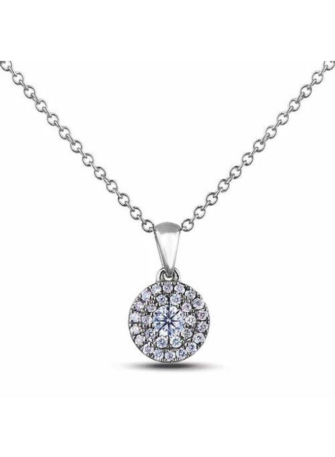 Chaine pendentif Halo 10k blanc diamant 0.09ct SI3 GH