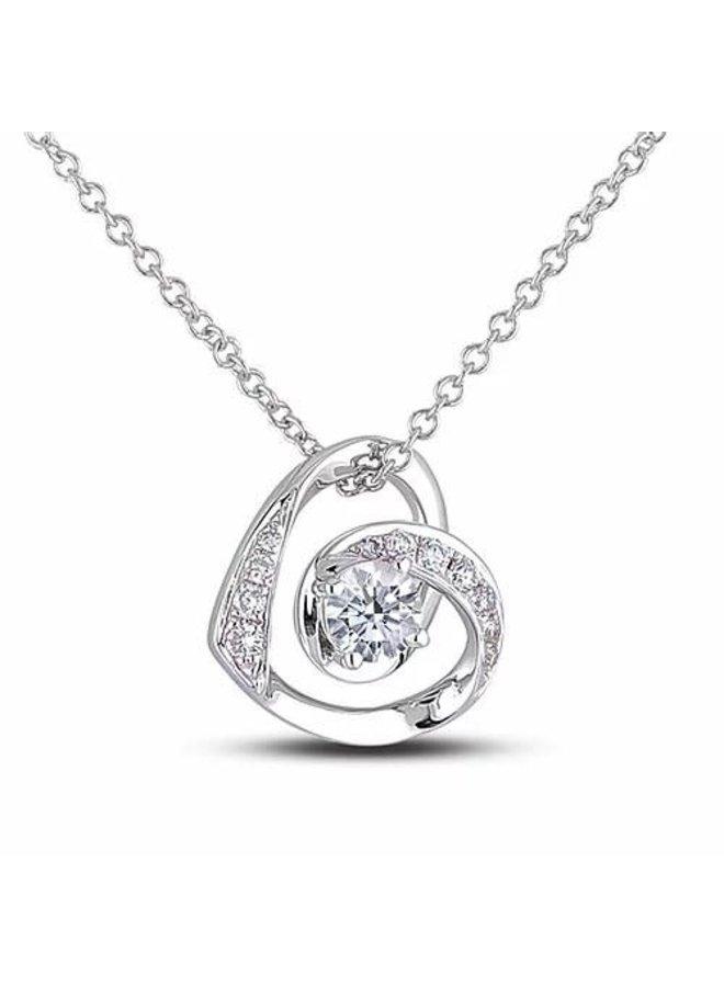 Chaine pendentif coeur diamant 0.20ct Si1 GH