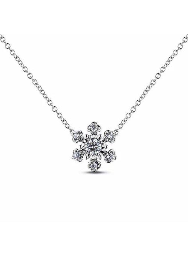Chaine pendentif 10k blanc Flocon diamant 0.12ct I  H