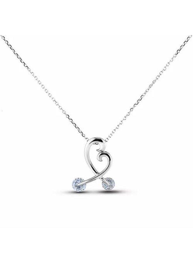 Chaine pendentif 10k blanc Style coeur diamant 0.20ct I GH