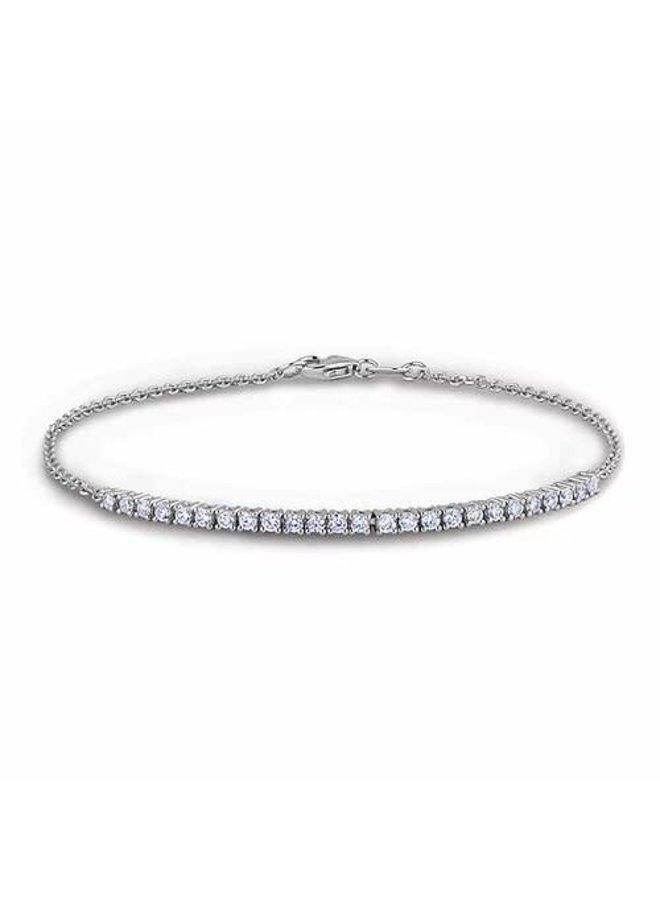 Bracelet 10k blanc en rangé diamant 0.32ct I1 H