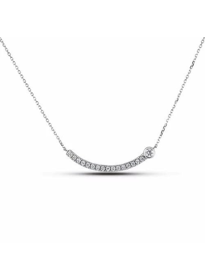 Chaine pendentif 10k blanc diamant 0.24ct Si2 GH