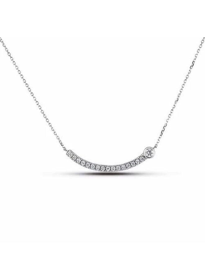 Chaine pendentif 10k blanc diamant 1X10 pts Si3/I + 16X1.5 pts pts SI2/GH