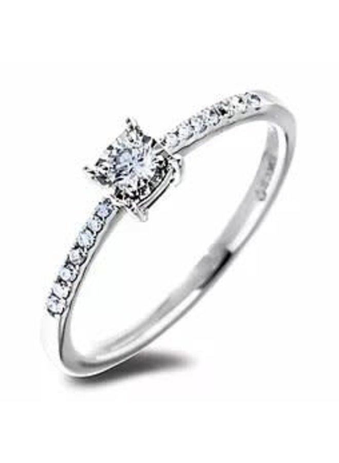 Bague 10k blanc diamant 0.10ct I GH