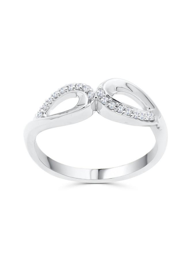 Bague 10k blanc 18 diamant 0,10ct totalt I GH