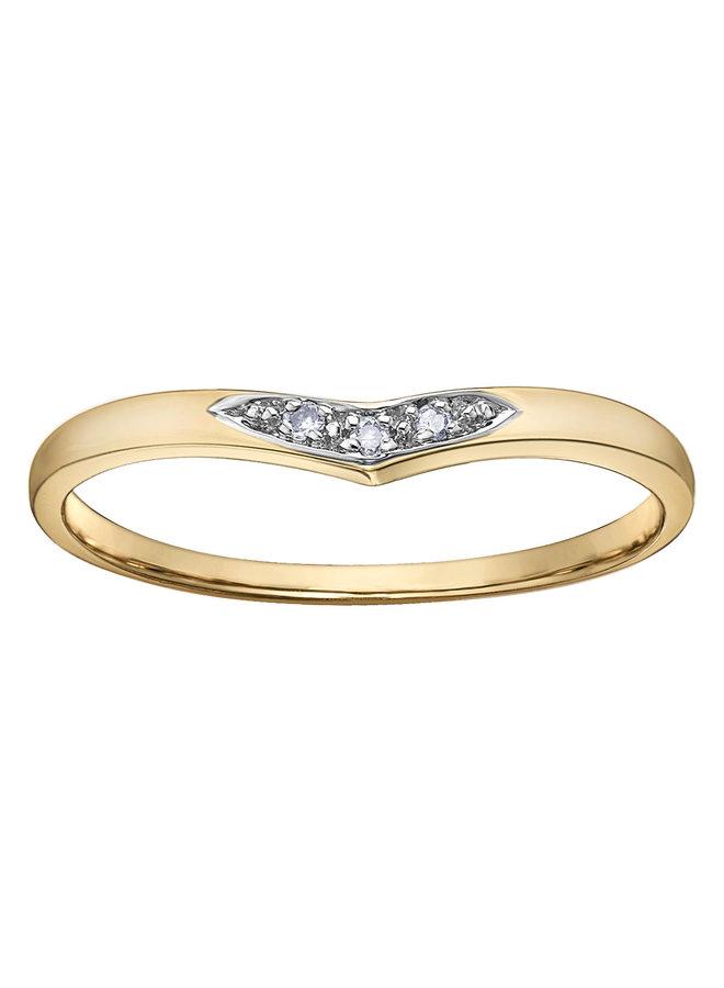 Bague 10k diamant 3x0.15ct I GH