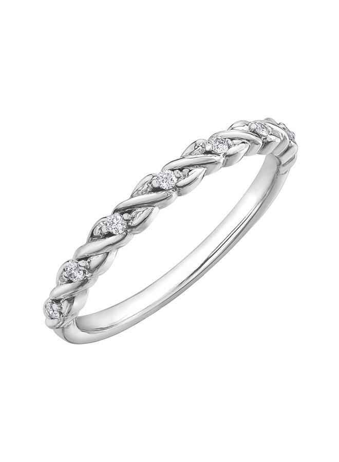 Jonc semi-éternité 10k blanc diamant 7x0.01ct I GH