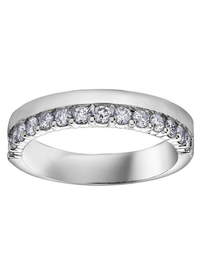 Jonc semi-éternité avec bande diamant 14x0.04ct I GH